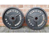 2 x 20KG BODYMAX & BODY POWER OLYMPIC RUBBER TRI GRIP or BODY POWER WEIGHT PLATES - 2 Inch Holes
