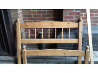 Solid Pine small double bed frame and mattress