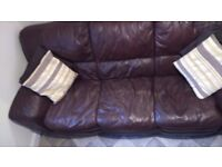Leather 3 Seat Sofa. Very Good Condition. Italian Leather. Dark Brown