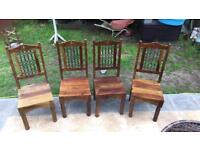 SET OF 4 INDIAN SHEESHAM HIGH BACK IRONWORK DINING ROOM CHAIRS