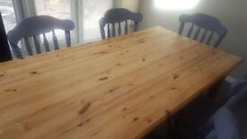 Rustic Solid Wooden Dining Table & Chairs (fixed legs)