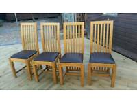 3 oak leather chairs