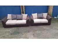 Fabulous Brand New brown and beige cord sofa suite. 3 and 2 seater sofas. delivery available