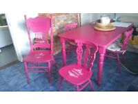 Beautiful Pine table and 4 chairs in bright Pink can repaint