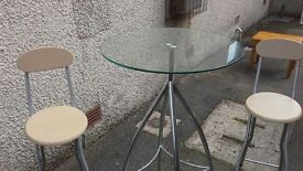 Glass and metal compact breakfast table