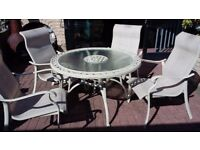 Glass top table & 4 chairs garden set