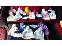 hand knitted pom pom hats(kids & adults)