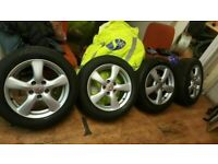 """SET OF MINT 16"""" HONDA CIVIC ALLOYS NEW TYRES ALL ROUND QUICK SALE £200"""