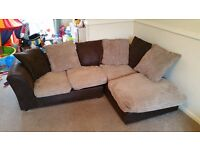 L shaped sofa beige and brown