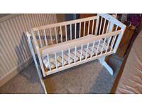 Crib - white - rocking/static options - good condition