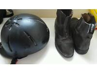 Decathlon horse riding helmet and size 5 riding boots
