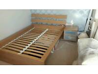 Double bed frame and side table