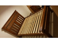 Double bed frame dark rustic wood