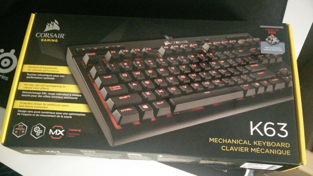 LIKE NEW, used once  Corsair K63 TenKeyless Mechanical Keyboard, Cherry MX  Red switches 428bf9eba988