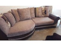 Curved Sofa for sale due to house move from non smoking home washable covers