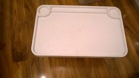 Ikea food tray bed table white with cup holder & raised edge