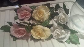 Satin rose napkin rings + glass bowl