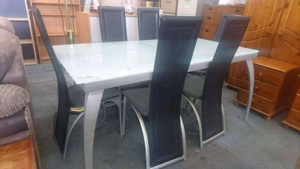 Modern Glass Top Dining Table With Six Chairs