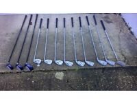 Set of Dunlop Golf Clubs with Bag and Trolley