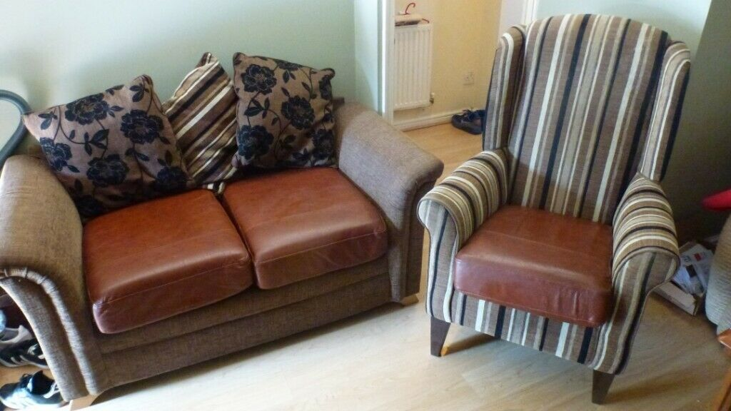 Bespoke 2 Seater Leather Fabric Handmade Sofa Wingback Chair Hardl In Leicester Leicestershire Gumtree