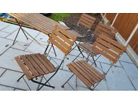 Metal/wooden garden table and chairs