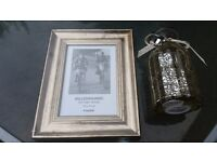 NEW Vintage style picture frame and mercury glass vase with heart/ribbon, ideal wedding gift/present