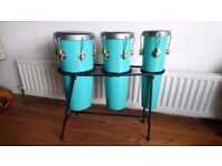 VINTAGE 1960S 3 RACK SET OF WOODEN CONGAS ORIG STEEL RACK G/C FAB DECOR DISPLAY PERCUSSION DRUMS