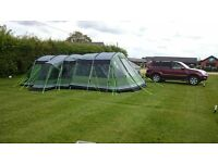 Montana 600p family tent with awning, carpet, footprint under sheet.