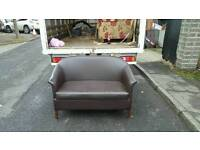 2 seater sofa in brown leather £65 delivered