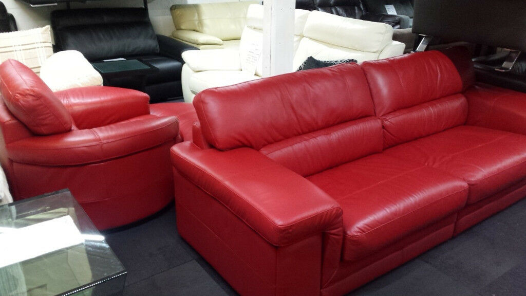 EX-DISPLAY SISI ITALIA TOP GRADE RED LEATHER 4 SEATER+CUDDLE CHAIR+STOOL