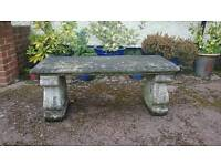 Old stone effect concrete bench