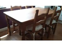 Famhouse solid pine table and 4 chairs with 2 pine dressers