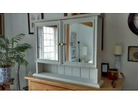Pine shabby chic bathroom / kitchen cabinet with brass knobs