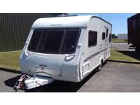 SWIFT CHALLENGER 2005 5 BERTH SPACIOUS FAMILY CARAVAN. ACCESSORIES. WITH SEPARATE SHOWER CUBICLE.