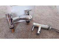 1 Yr old, chrome bath and sink tap set.