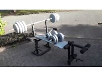 YORK FOLDABLE BENCH WITH 50KG WEIGHTS & BARS