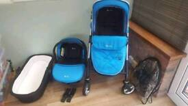 Silver Cross Wayfarer in BLUE with Car Seat and Carrycot Pram Stroller Travel System