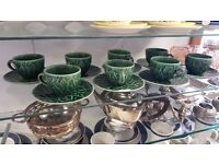 Complete Set of Eight Cabbage-patterned Teacups and Saucers in Good Condition