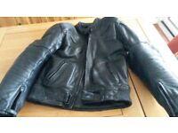 """Mens (John Thomas) Leather Motorcycle Jacket, size 42"""" chest, Black."""
