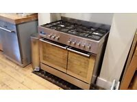 Baumatic PT2810SS Range Cooker, 5 gas ring hob and double electric oven, excellent condition