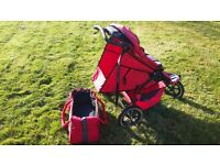 Double buggy with a cocoon & carry cot