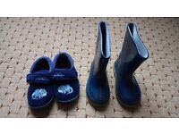 Wellies & clarks doddles slippers size 5