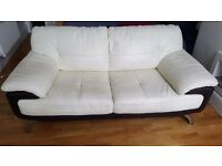 Chocolate-brown & cream-white Leather Sofa for Sale.