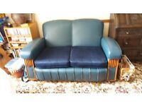 Vintage blue leather 3 piece suite