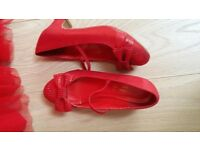 Red Monsoon Dress, Cardigan, Shoes and Handbag
