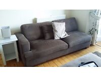 Grey Sectional Sofa / Couch with Matching Ottoman