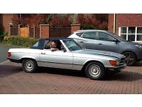 Mercedes Classic Convertible 380SL R107 model - SILVER with BLUE HOOD & GREY LEATHER SEATS