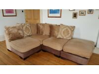 DFS Martinez Corner Sofa in golden light brown chenille & brown faux leather
