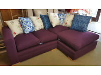 Brand New Purple Linen Fabric Right Hand Corner Sofa With Scatter Cushions