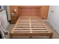 Double, solid pine bed frame